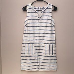 Boden Linen Blue and White Striped Shift Dress